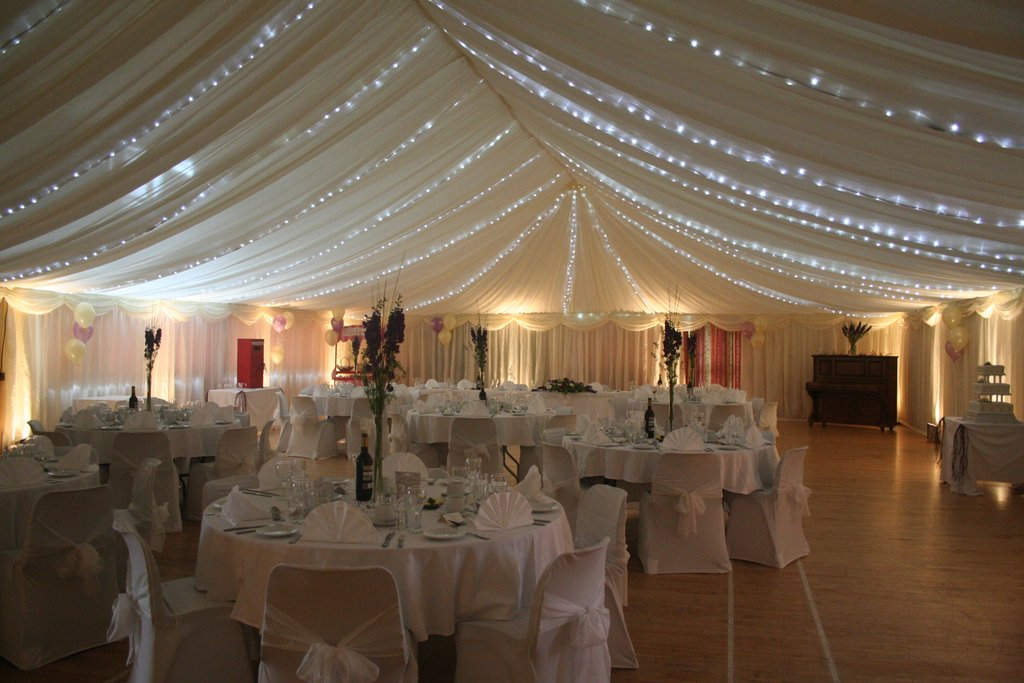 The Hall prepared for a wedding with a marquee lining